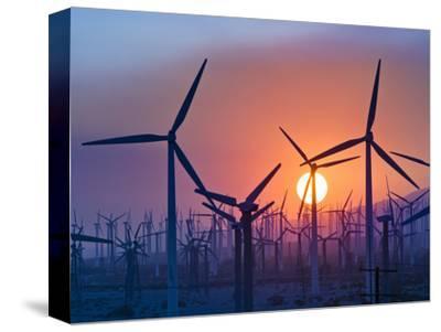 Wind Turbines Near Palm Springs, California, at Sunset