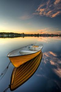 Orange Boat with Strong Reflection by David Olsson