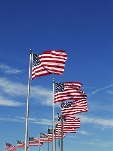 Flags at Washington Monument by David Papazian