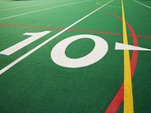 Ten Yard Maker on Football Field by David Papazian