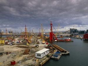 Construction Site Along the Thames In London by David Parker