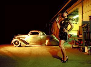 Pin-Up Girl: 1937 Coupe Tattoo and Leather by David Perry