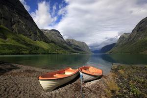 Boats Pulled Up by a Fjord, Songdal Region, Near Bergen, Western Norway, Scandinavia, Europe by David Pickford