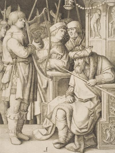 David Playing the Harp before Saul, C.1508-Lucas van Leyden-Giclee Print