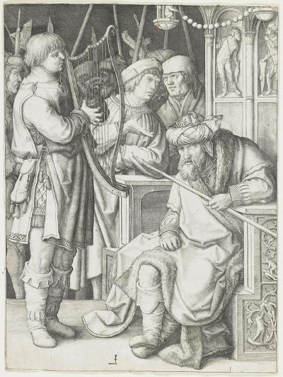 David Playing the Harp before Saul, C. 1508-Lucas van Leyden-Giclee Print