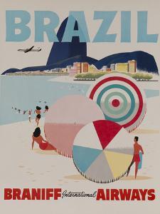 Braniff Airways Travel Poster, Brazil by David Pollack