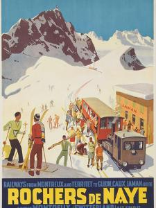 Rochers De Naye, Swiss Ski Travel Poster by David Pollack