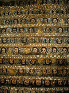 Frescoes on Ceiling of Debre Berham (Debre Birhan Selassie) Church, Gondar, Ethiopia, Africa by David Poole