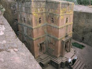 Looking Down on Entrance of Biet Giorgis, Rock Cut Christian Church, Lalibela, Ethiopia by David Poole