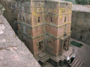 Looking Down on Entrance of Biet Giorgis, Rock Cut Christian Church, Lalibela, Ethiopia by David Poole