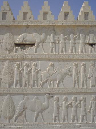 Parade of Nations Carving, Apadana Palace Staircase, Archaeological Site, Iran, Middle East