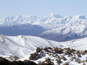 Snow Above Summer Pastures of Ouarikt Valley, High Atlas Mountains, Morocco, North Africa, Africa by David Poole