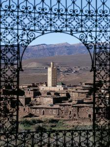 View of Telouet and High Atlas Mountains from the Kasbah, Telouet, Morocco, North Africa, Africa by David Poole