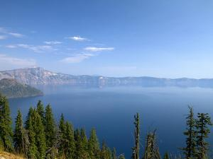 Crater Lake Shrouded in Smoke from Forest Fires, Crater Lake Nat'l Park, Southern Oregon, USA by David R^ Frazier
