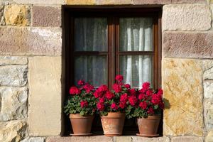Window Flower Pots in Village of Santillana Del Mar, Cantabria, Spain by David R^ Frazier