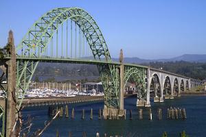 Yaquina Bay Bridge Spanning the Yaquina Bay at Newport, Oregon, USA by David R^ Frazier