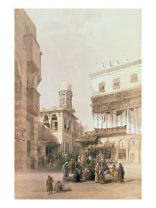 """Bazaar of the Coppersmiths, Cairo, from """"Egypt and Nubia"""", Vol.3 by David Roberts"""