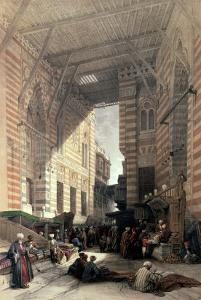 """Bazaar of the Silk Merchants, Cairo, from """"Egypt and Nubia,"""" Vol.3 by David Roberts"""