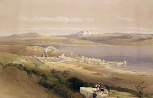 """City of Tiberias on the Sea of Galilee, April 22nd 1839, Plate 38 from Volume I of """"The Holy Land"""" by David Roberts"""