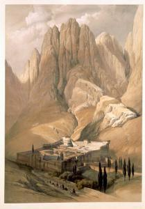 Convent of St. Catherine with Mount Horeb, 1839, Plate 118, Vol.III The Holy Land, Engraved Haghe by David Roberts