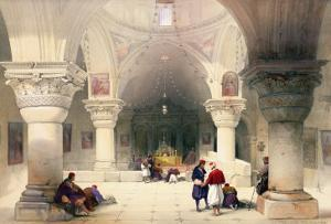"""Crypt of the Holy Sepulchre, Jerusalem, Plate 20 from Volume I of """"The Holy Land"""" by David Roberts"""