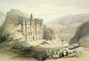 El Deir, Petra, March 8th 1839, Plate 90 from Volume III The Holy Land, Engraved by Louis Haghe by David Roberts
