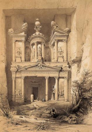 El Kasne (Treasury), Petra, Jordan, 1843 Engraving by David Roberts