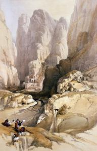 """Entrance to Petra, March 10th 1839, Plate 98 from Volume III of """"The Holy Land"""" by David Roberts"""