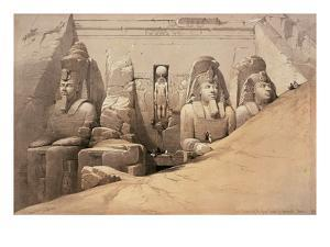 Front Elevation of the Great Temple of Aboo Simbel, Nubia, from 'Egypt and Nubia' by David Roberts