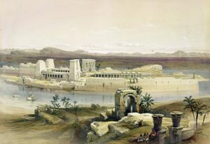 """General View of the Island of Philae, Nubia, from """"Egypt and Nubia"""", Vol.1 by David Roberts"""