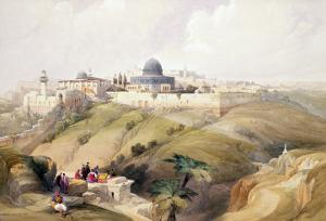 """Jerusalem, April 9th 1839, Plate 16 from Volume I of """"The Holy Land"""" by David Roberts"""