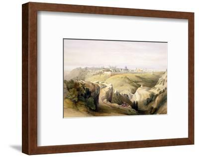 """Jerusalem from the Mount of Olives, April 8th 1839, Plate 6 from Volume I of """"The Holy Land"""""""