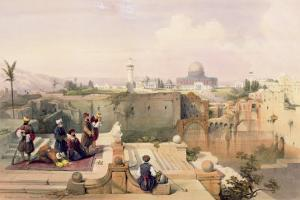 Mosque of Omar Showing the Site of Temple, from Volume I of 'The Holy Land' engraved by Louis Haghe by David Roberts