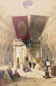 """Shrine of the Holy Sepulchre, April 10th 1839, Plate 14 from Volume I of """"The Holy Land"""" by David Roberts"""