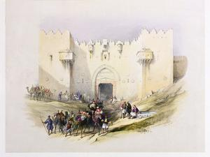 T1212 Gate of Damascus, Jerusalem, April 14th 1839, Plate 3 from Volume I of 'The Holy Land',… by David Roberts