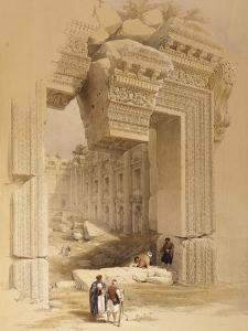The Doorway of the Temple of Bacchus, Baalbec, 7th May 1839 by David Roberts