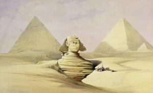 """The Great Sphinx and the Pyramids of Giza, from """"Egypt and Nubia,"""" Vol.1 by David Roberts"""