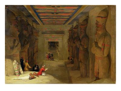 The Hypostyle Hall of the Great Temple at Abu Simbel, Egypt, 1849 (Oil on Panel)