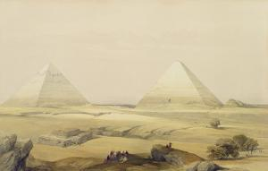 """The Pyramids of Giza, from """"Egypt and Nubia"""", Vol.1 by David Roberts"""