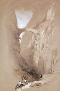 The Triumphal Arch crossing the Ravine leading to Petra by David Roberts