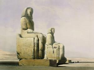Thebes, December 4th 1838, Detail of the Colossi of Memnon by David Roberts