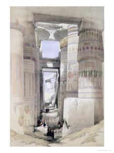 """View Through the Hall of Columns, Karnak, from """"Egypt and Nubia"""", Vol.1 by David Roberts"""