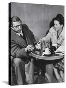 Philosopher Writer Jean Paul Sartre and Simone de Beauvoir Taking Tea Together by David Scherman