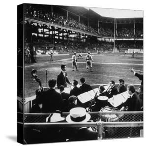 Rudy Friml Jr.'s Hot Jazz Band, Playing at Ebbets Field During Dodgers vs. Cardinals Baseball Game by David Scherman