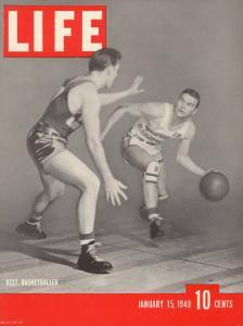 USC Basketball Player Ralph Vaughn Dribbling Past Teammate Tom McGarvin, January 15, 1940 by David Scherman