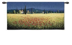 Tuscan Panorama Poppies by David Short