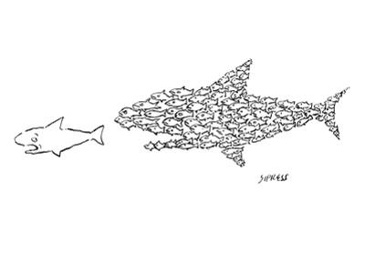 A shark is chased by a school of fish that has organized into the shape of… - New Yorker Cartoon by David Sipress