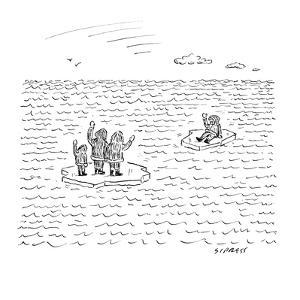 An Eskimo man floats away from his family. Both are on small bits of ice. - New Yorker Cartoon by David Sipress