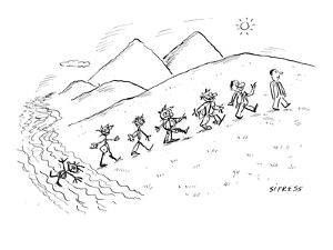 Evolution of life: from a scribble to a fully-clothed man. - New Yorker Cartoon by David Sipress