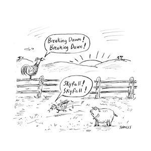 Farm animals shout the names of newly released movies. - Cartoon by David Sipress